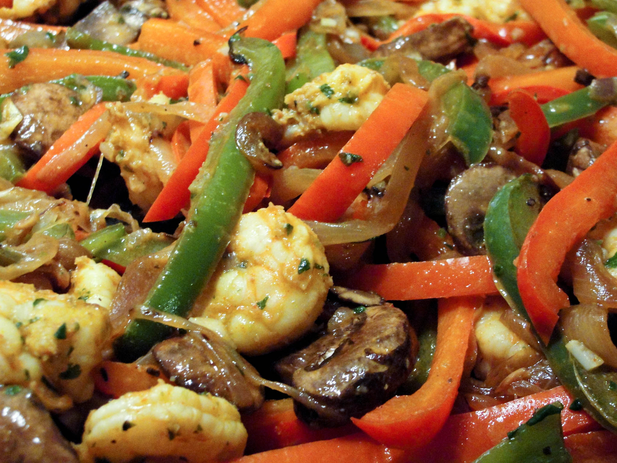 "Shrimp Fajitas (without the funky chemical ""spices"") 