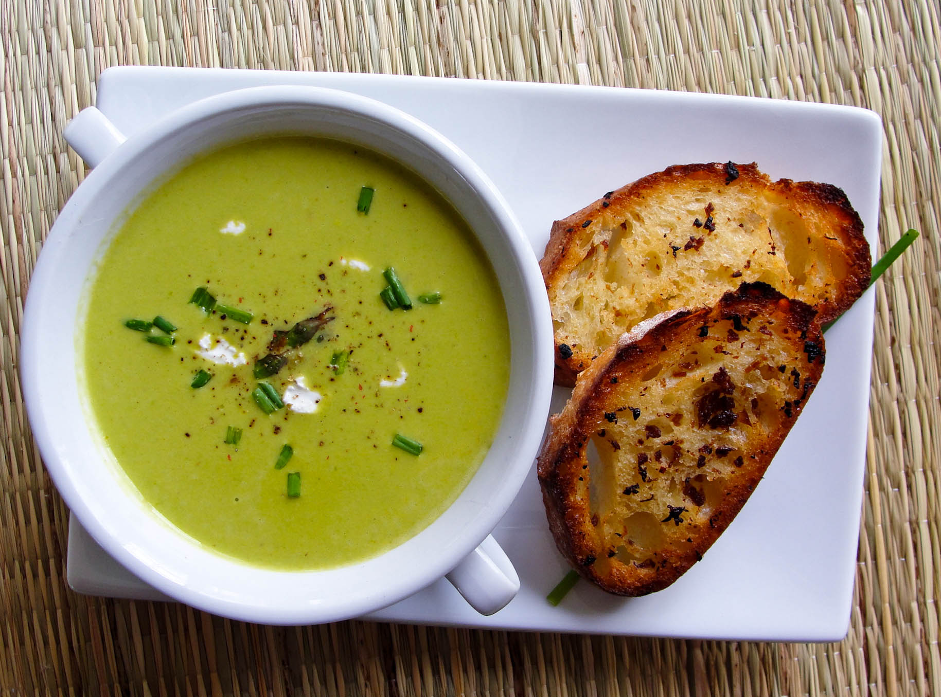 asparagus soup with tarragon and goat cheese –served with black ...