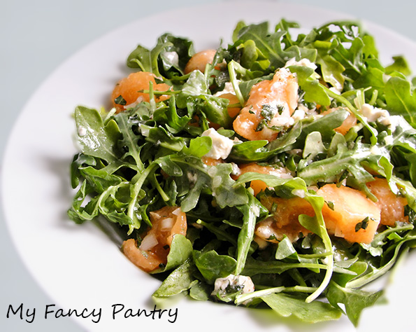 Cantaloupe, Arugula and Mint Salad with Chevre