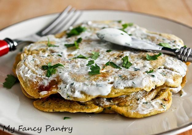 Indian chickpea pancake, chickpea pancake, besan pancake, besan flour pancake, savory pancake, Indian pancake with raita