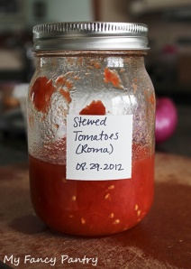 Canned roma tomatoes, the amount left in the jar is how much I used for this curry