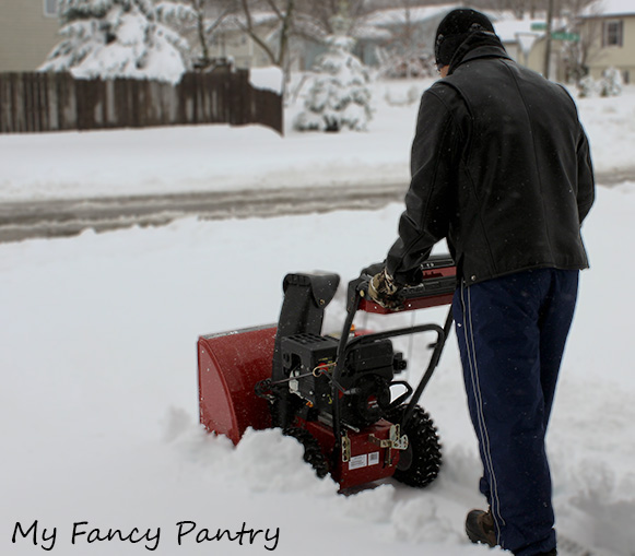 "Piyush snowblowing after our latest ""Spring"" blizzard"