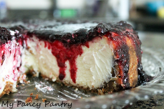 Lemon blackberry ginger cheesecake