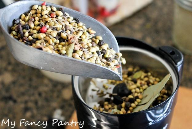 grinding garam masala