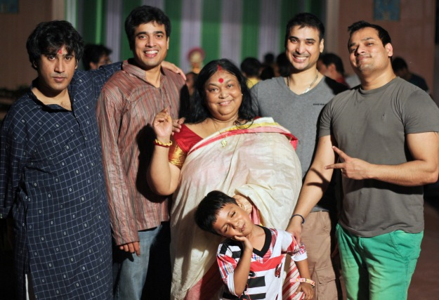 Maa and her boys--and one very naughty (but so cute!) neighbor kid